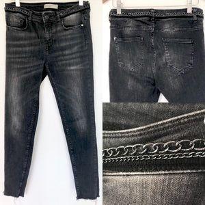 Zara Z1975 Black Frayed & Chains Moto Jeans 6